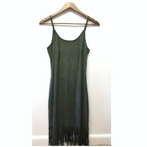 Say What? Dresses - Say What | Green Suede Strappy Dress Fringed Edges